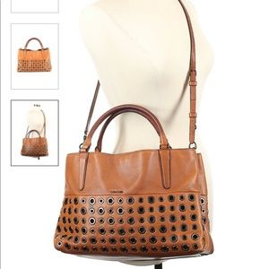 Coach Leather Large Camel Brown Cross Body Bag